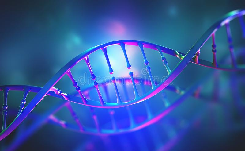 DNA genome research. Bright neon light. DNA molecule structure. 3D double helix illustration. Genetic engineering of the future royalty free illustration