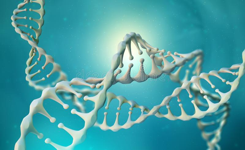 DNA genome research. DNA molecule structure. 3D double helix illustration. Genetic engineering of the future stock illustration