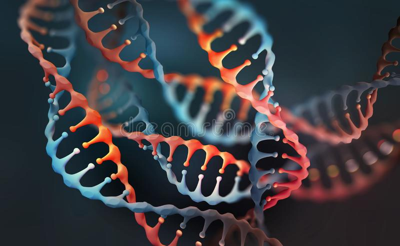 DNA genome research. DNA molecule structure. 3D double helix illustration. Genetic engineering of the future vector illustration