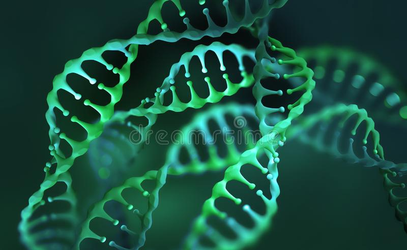 DNA genome research. DNA molecule structure. 3D double helix illustration. Genetic engineering of the future royalty free illustration