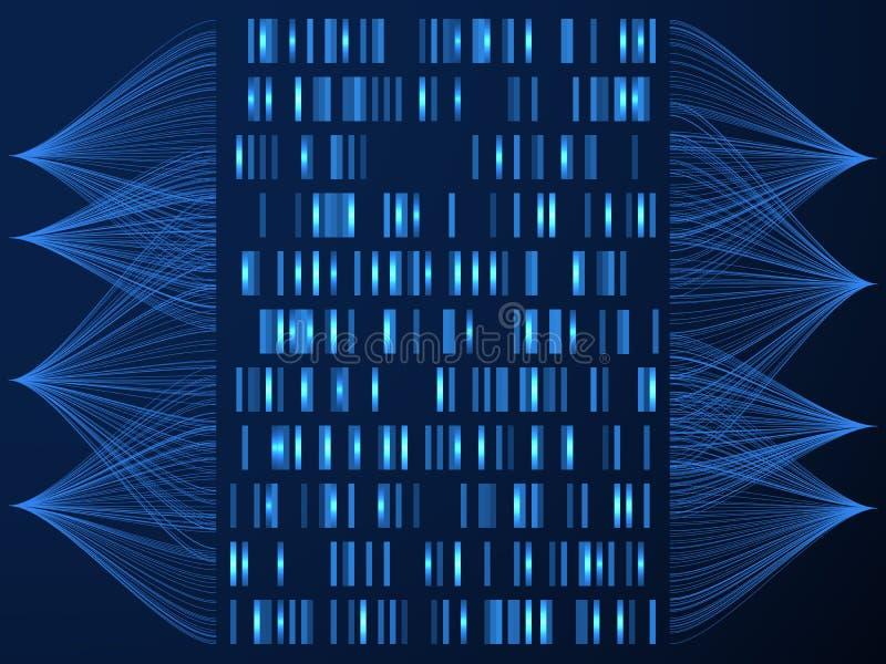 DNA-genoomconcept Genoom die medische kaart, gen het rangschikken testen De vectorachtergrond van de wetenschapsoplossing stock illustratie