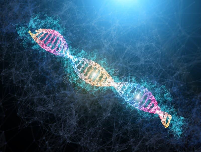 DNA-glänzende Neonillustration medizinische Illustration des DNA-Strangs mit hellem Aufflackern Genetisches Konzept der Wissensch lizenzfreie abbildung