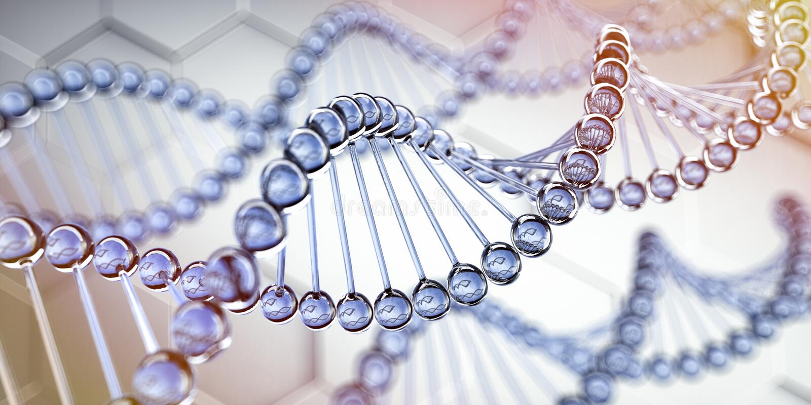 Complex DNA - medical 3D illustration. DNA glass structures closeup against a blue backdrop - medical 3D illustration - rendering vector illustration