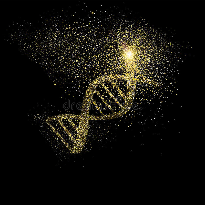 DNA gold glitter art concept symbol illustration stock illustration