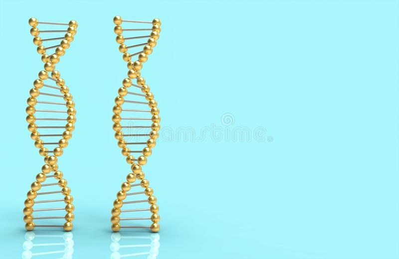 DNA golden ribbon on blue and space for text and design. Science concept 3d illustration and rendering image vector illustration