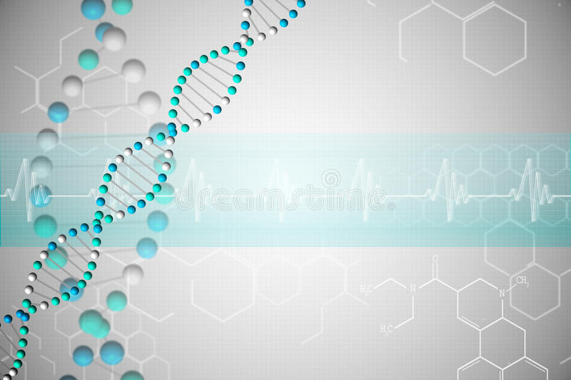 DNA Helix In Blue With Chemical Structures Stock Illustration