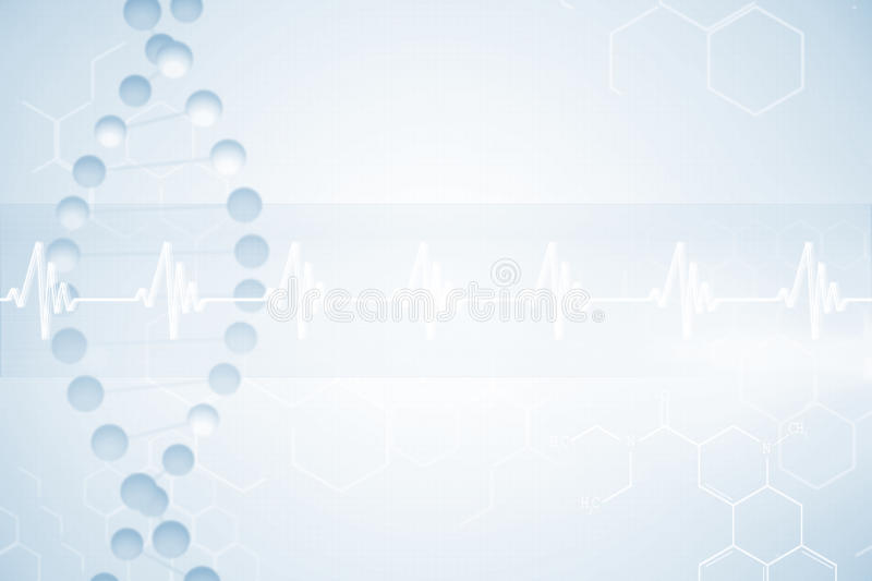 DNA helix in blue and red with ECG line 3d royalty free illustration