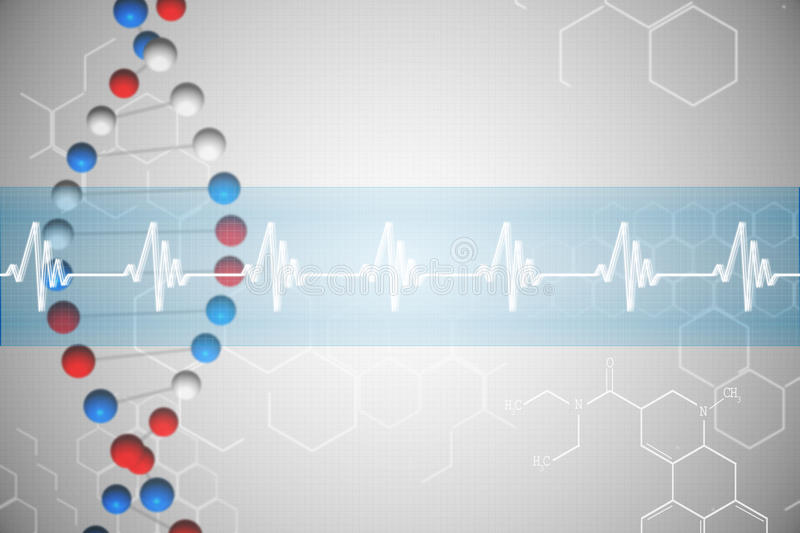 DNA helix in blue and red with ECG line royalty free illustration