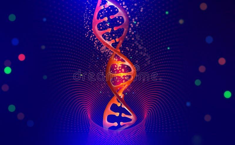 DNA helix Cze?? techniki technologia w polu in?ynieria genetyczna ilustracji