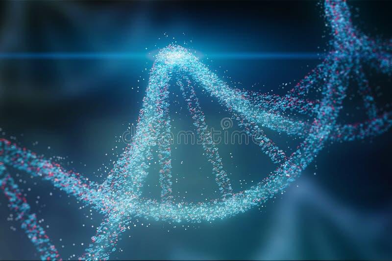 DNA-Helix des blauen Rotes über dunkelblauem Hintergrund lizenzfreie abbildung