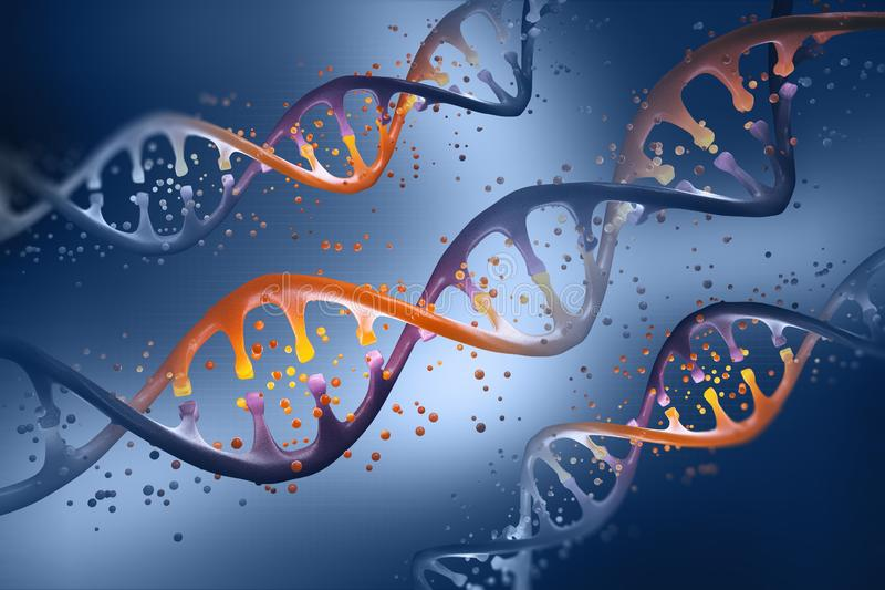 DNA helix. Genetic Engineering. Study of the structure of DNA. Modern medical research of stem cells. 3D illustrations stock illustration