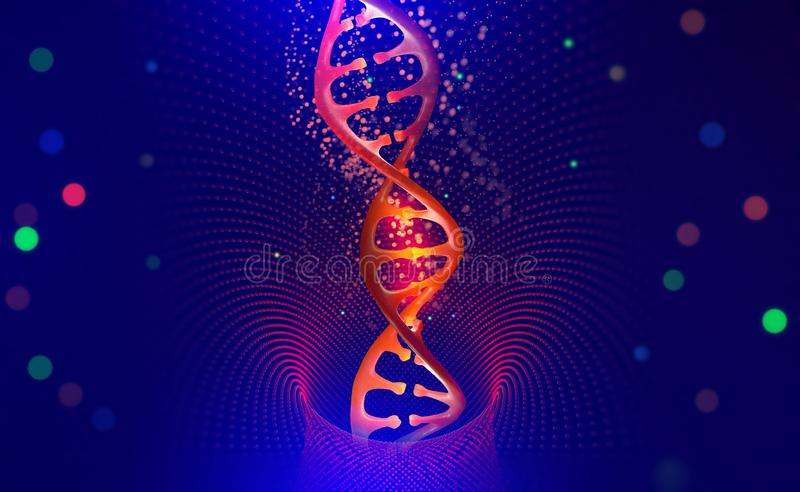 DNA helix. Hi Tech technology in the field of genetic engineering. Scientific breakthrough in human genetics. 3D illustration of a DNA molecule with a nanotech stock illustration