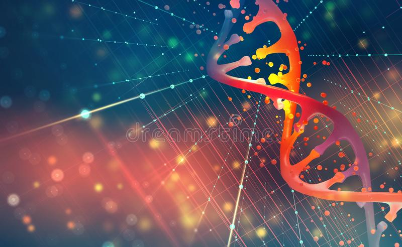 DNA helix. Hi Tech technology in the field of genetic engineering. 3D illustration on a futuristic background royalty free illustration