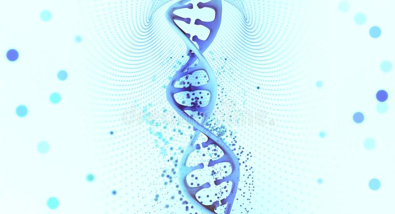 DNA helix. Hi Tech technology in the field of genetic engineering. 3D illustration of a DNA molecule with a nanotech network royalty free illustration