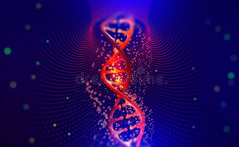 DNA helix. Hi Tech technology in the field of genetic engineering. Scientific breakthrough in human genetics. 3D illustration of a DNA molecule with a nanotech vector illustration