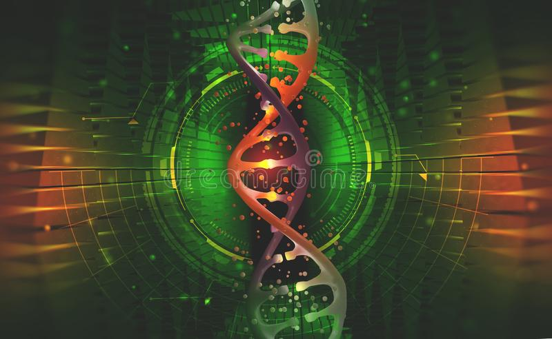 DNA helix. Hi Tech technology in the field of genetic engineering. Work on artificial intelligence. 3D illustration on a futuristic background royalty free illustration