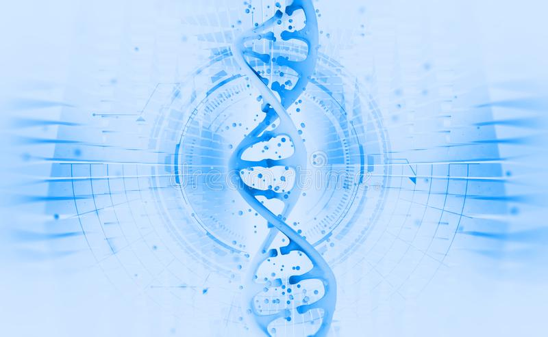 DNA helix. Hi Tech technology in the field of genetic engineering. Work on artificial intelligence. 3D illustration on a futuristic background stock illustration