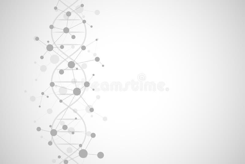 DNA helix i cząsteczkowa struktura Nauka i technika pojęcie z molekuły tłem ilustracja wektor