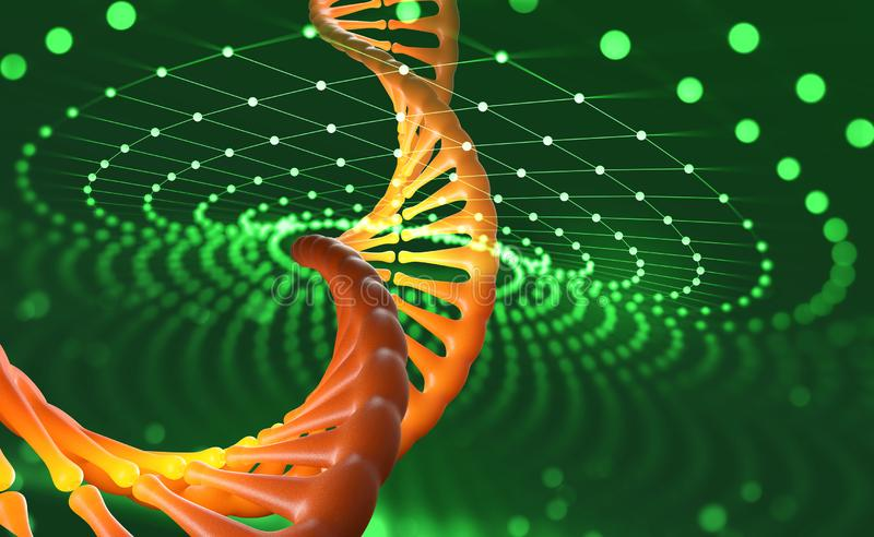 DNA helix. Innovative technologies in research of the human genome. Artificial intelligence in the medicine of the future vector illustration