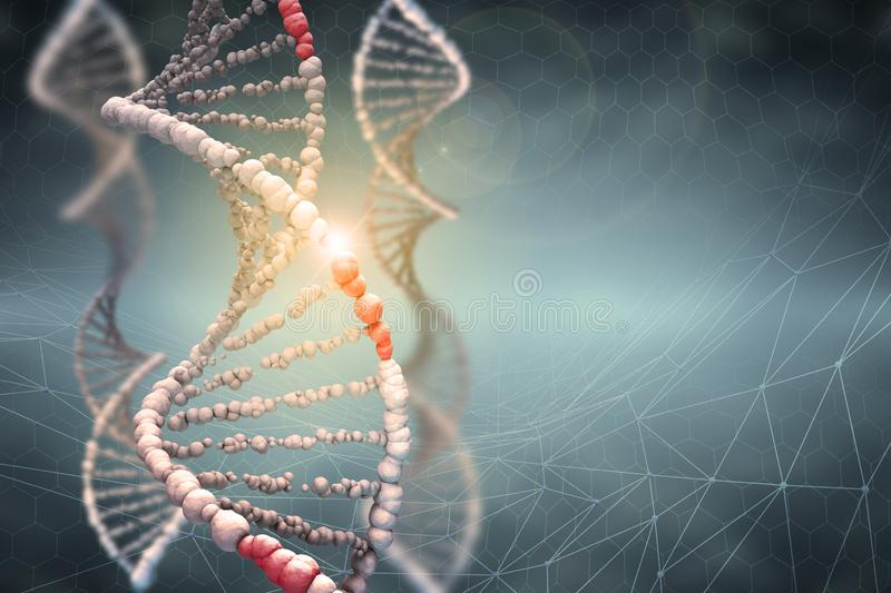 DNA helix. Innovative technologies in research of the human genome stock illustration