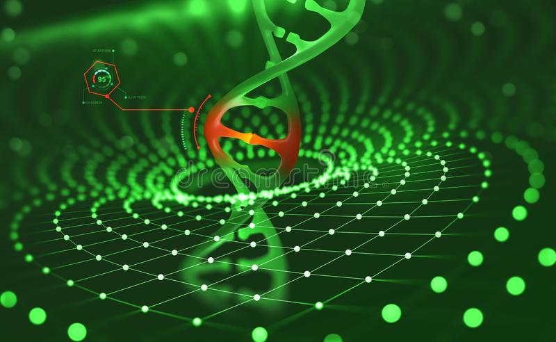 DNA helix. Innovative technologies in the study of the human genome. Artificial intelligence in the medicine of the future royalty free illustration