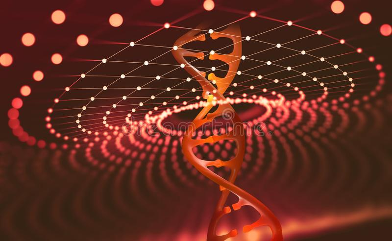 DNA helix. Innovative technologies in the study of the human genome. Artificial intelligence in the medicine of the future. 3D illustration of a DNA molecule stock illustration