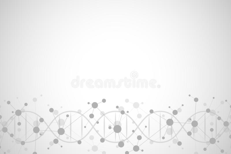 DNA helix and molecular structure. Science and technology concept with molecules background. vector illustration