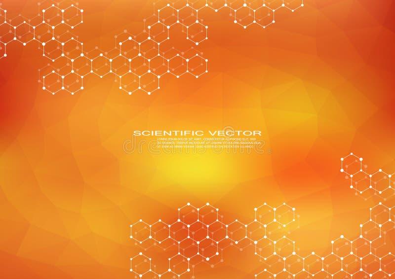 DNA hexagonal de la molécula Estructura molecular del sistema de las neuronas compuestos genéticos y químicos Química, medicina stock de ilustración