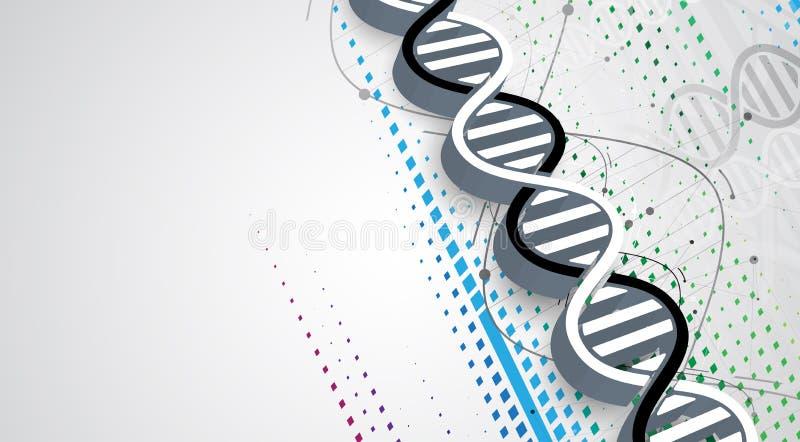 Dna i tło medyczny i technologia futurystyczna molekuła ilustracja wektor