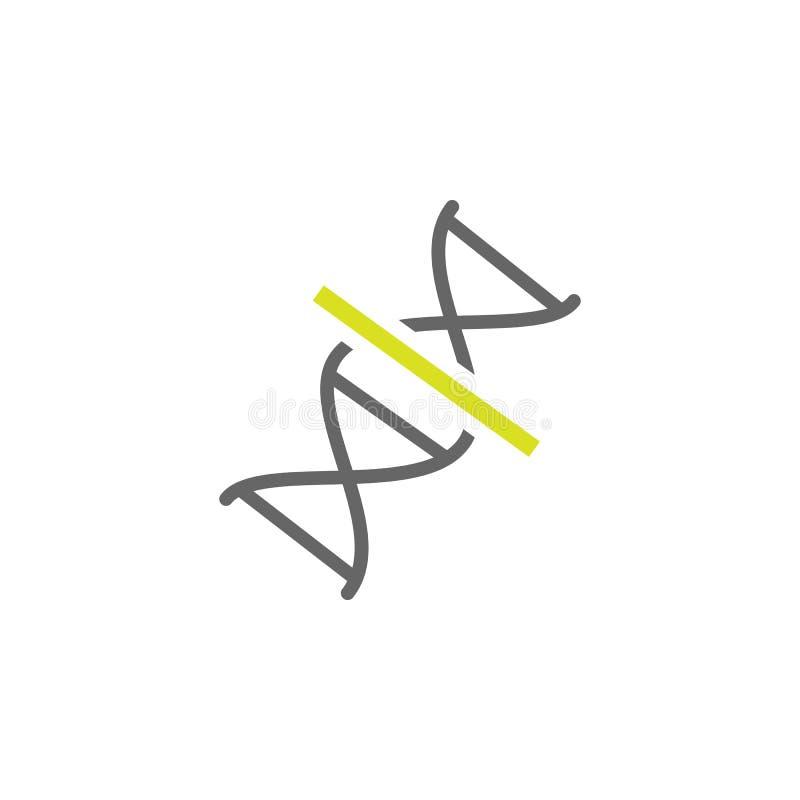 DNA, icona del genoma Elemento dell'icona di esperimento di scienza per i apps mobili di web e di concetto Il DNA dettagliato, ge illustrazione vettoriale