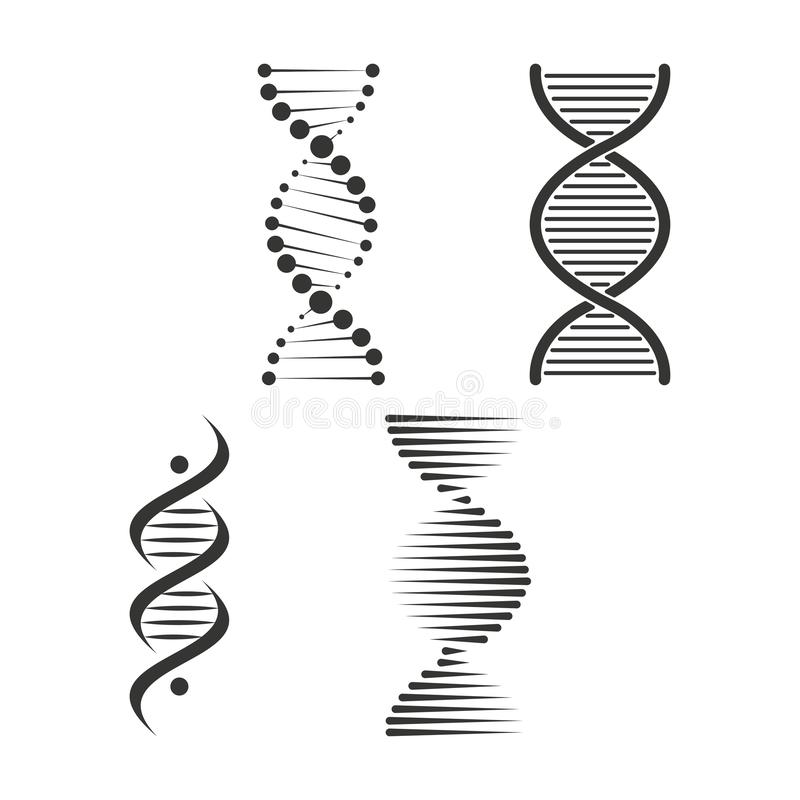 DNA-Ikonensatz Chromosomstrang-Symbolvektor lizenzfreie abbildung