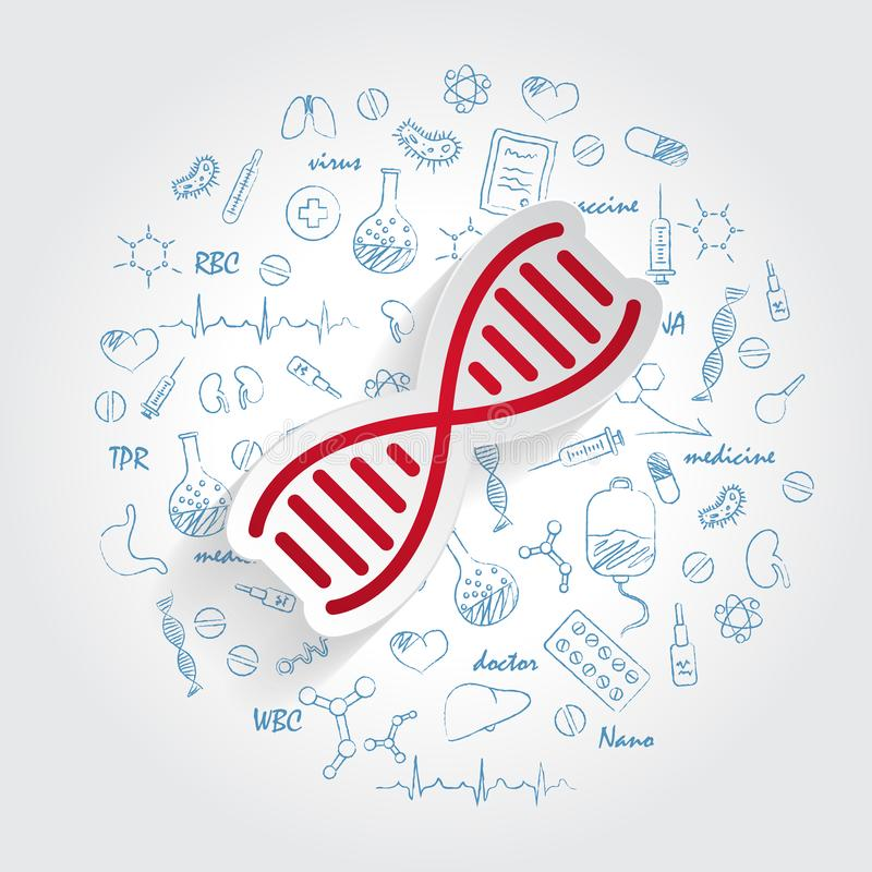 DNA-Ikonenvektor auf handdrawn Gesundheitswesengekritzelhintergrund Modernes einfaches Lebenentwicklungszeichen Geschäft, Interne vektor abbildung