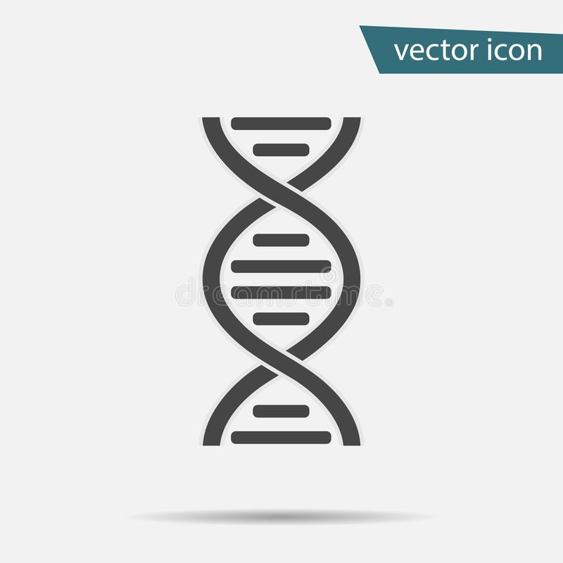 DNA-Ikonenvektor Modernes einfaches flaches Lebenentwicklungszeichen lokalisiert Geschäft, Internet-Konzept trendy lizenzfreie abbildung