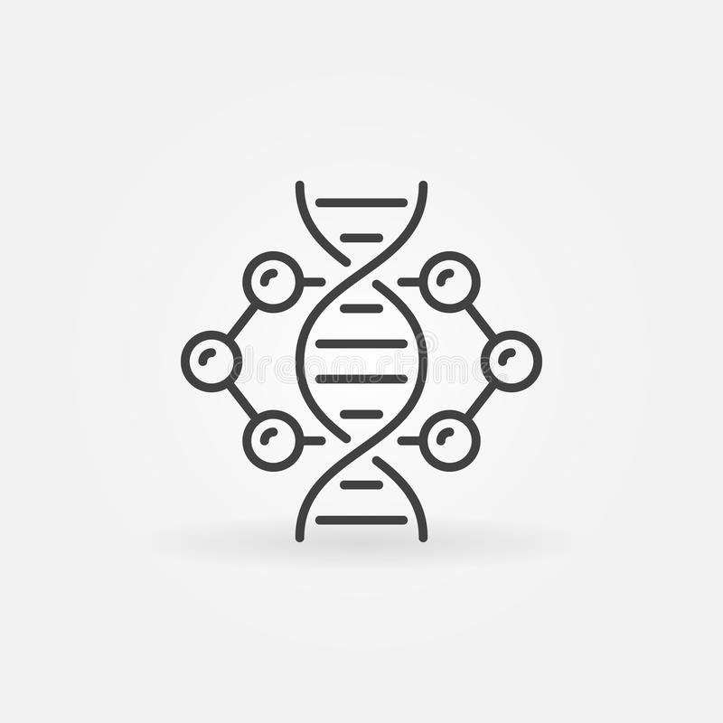 DNA inside molecule vector concept linear icon or symbol. DNA inside molecule vector concept icon or design element in thin line style stock illustration