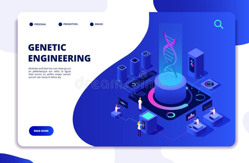 DNA isometric concept. Genetic engineering lab with people scientists. Doctors researching cells. DNA gene therapy stock illustration