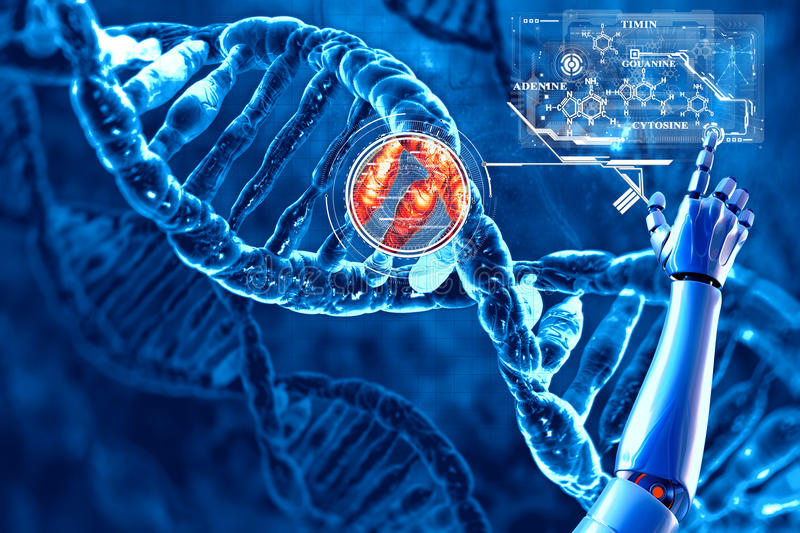 DNA and its chemical formula stock illustration