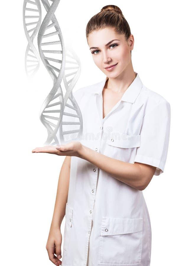 DNA ketent stromen van hand van jonge vrouwelijke arts royalty-vrije stock foto