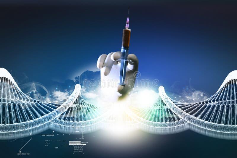DNA-ketting en de hand van de spuitholding royalty-vrije illustratie