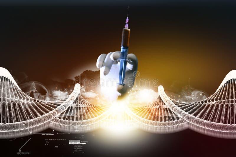 DNA-ketting en de hand van de spuitholding vector illustratie