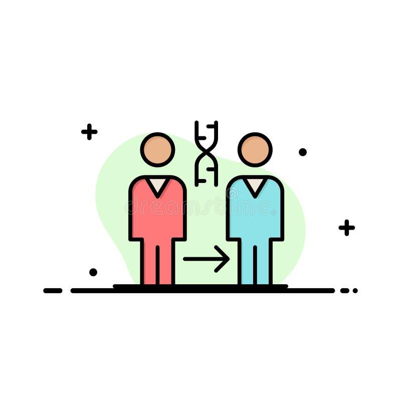 Dna kloning, patient, sjukhus, plan linje fylld mall för vård- affär för symbolsvektorbaner vektor illustrationer