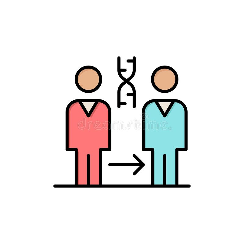 Dna kloning som är tålmodig, sjukhus, vård- plan färgsymbol Mall för vektorsymbolsbaner stock illustrationer