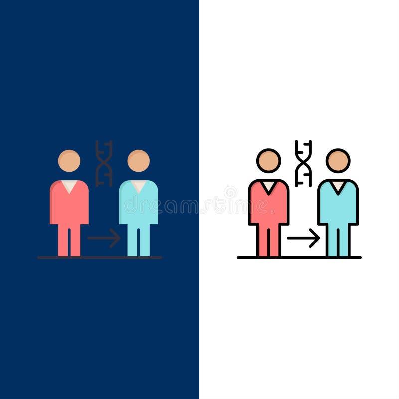 Dna kloning som är tålmodig, sjukhus, vård- symboler Lägenheten och linjen fylld symbol ställde in blå bakgrund för vektorn royaltyfri illustrationer