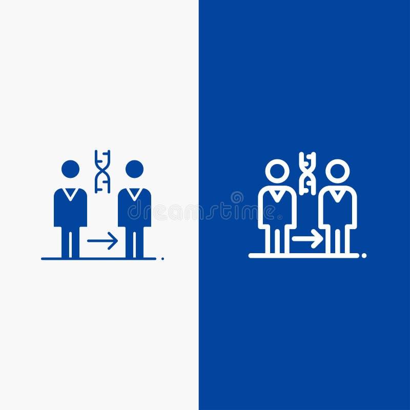 Dna, kloning, tålmodig, sjukhus, baner för blå för baner för vård- symbol för linje och för skåra fast blått symbol för linje och royaltyfri illustrationer
