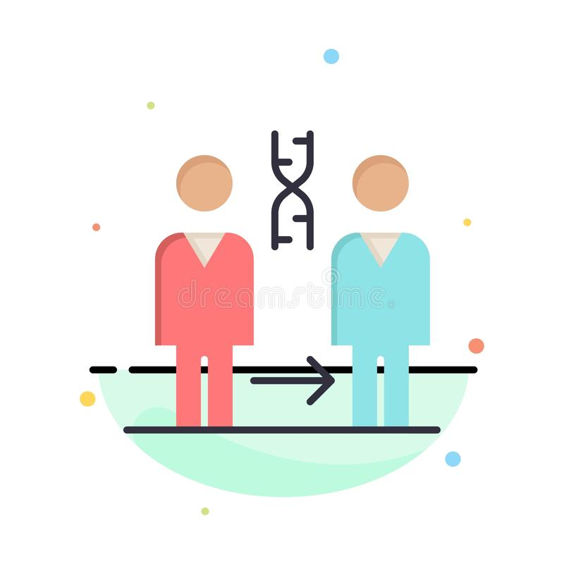 Dna, klonowanie, pacjent, szpital, zdrowie koloru ikony Abstrakcjonistyczny Płaski szablon royalty ilustracja
