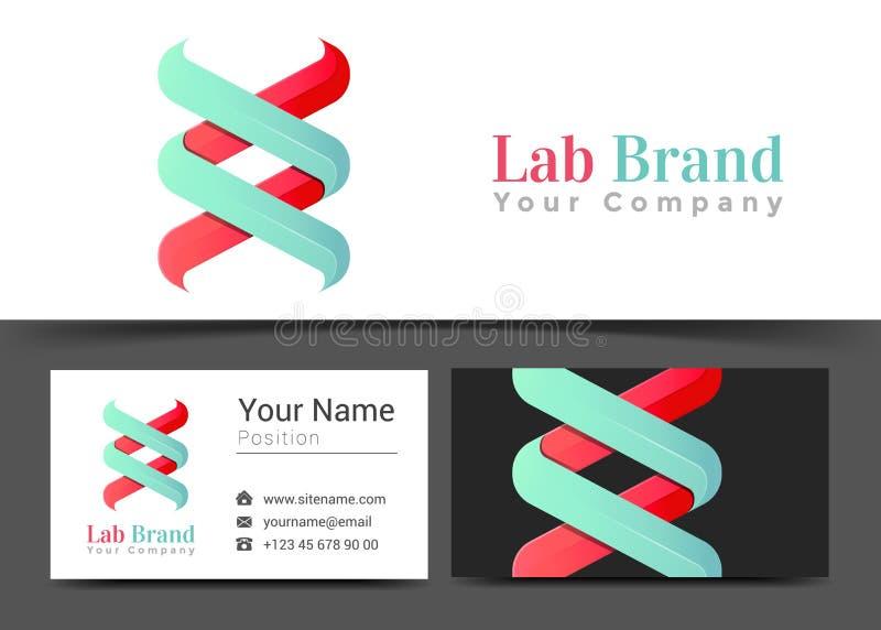 DNA Lab Korporacyjny logo i wizytówka Szyldowy szablon Kreatywnie royalty ilustracja