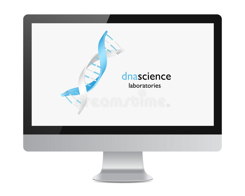 DNA logo on the realistic computer monitor screen. Icon vector illustration