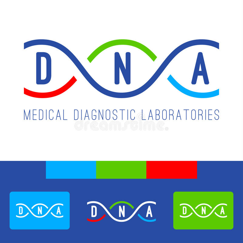DNA logo white. DNA logo of medical clinic diagnostic laboratories. Color vector DNA genomes spiral on white, blue, red and green background stock illustration