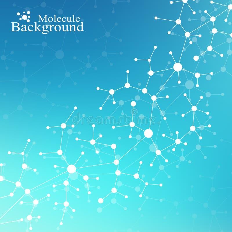 DNA moderna de la molécula de la estructura átomo Molécula y fondo de la comunicación para la medicina, ciencia, tecnología, quím stock de ilustración