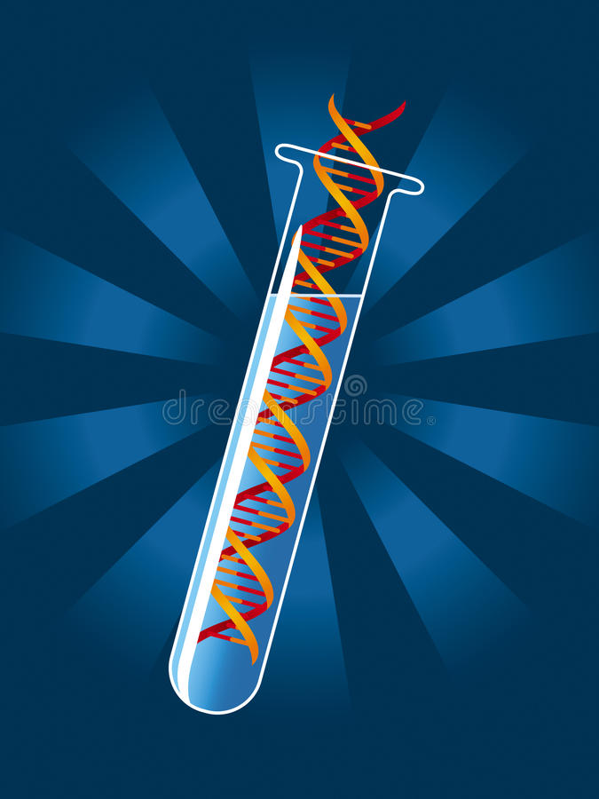 DNA molecule. Test tube with DNA molecule vector illustration