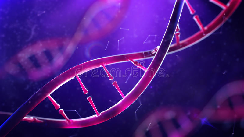 DNA molecule. Closeup of concept human genome. 3d illustration of DNA molecule. Closeup of concept human genome stock photos